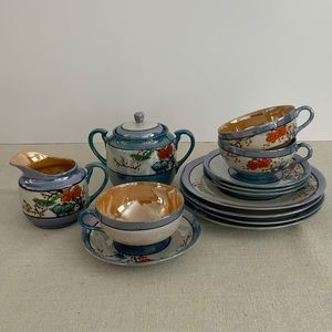 Vintage Floral&Bird Lusterware Tea Set